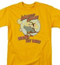 Mighty Mouse Saved My Day graphic gold t-shirt retro cartoon superhero CBS877 image 3