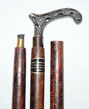 Nautical Antique Designer Style Brass Handle w Leather Wooden Walking St... - $42.06