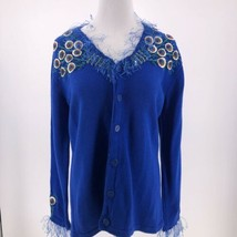 STORYBOOK KNITS SWEATER VINTAGE PEACOCK Sz M Royal Blue Cotton Blend Emb... - $34.60