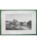 FRANCE View of Auxerre - CPT. BATTY Vintage Antique Print Engraving - $10.71