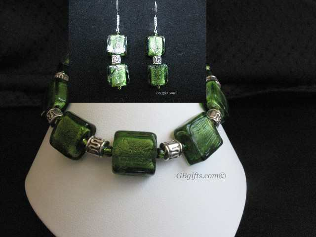 Green Earrings w/ Bracelet