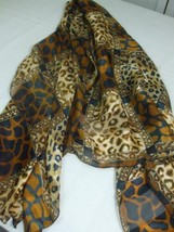 Large Head Neck Scarf Animal Print Brown Black Beige Semi Sheer Silk Fee... - $9.86