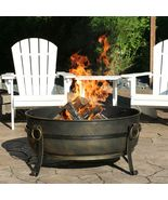 "34"" Fire Pit Steel Cauldron Design with Spark Screen and Fire Poker - $385.00"
