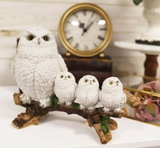 White Snow Owl Mother Perching On Tree Branch With 3 Baby Owlets Family ... - $36.99