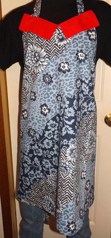 Blue flower full length adult apron SOLD