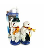 Lot 2 Gemmy Spinning Snowflake Frosty The Snowman For Repairs Parts - $29.69