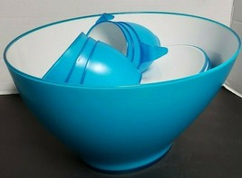 IKEA Blue and White Plastic Punch Bowl Set includes 6 cups and 6 trays - £9.02 GBP