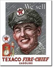 Texaco Pump Attendant Fire Chief Oil Lubricates Distressed Retro Metal T... - £13.07 GBP