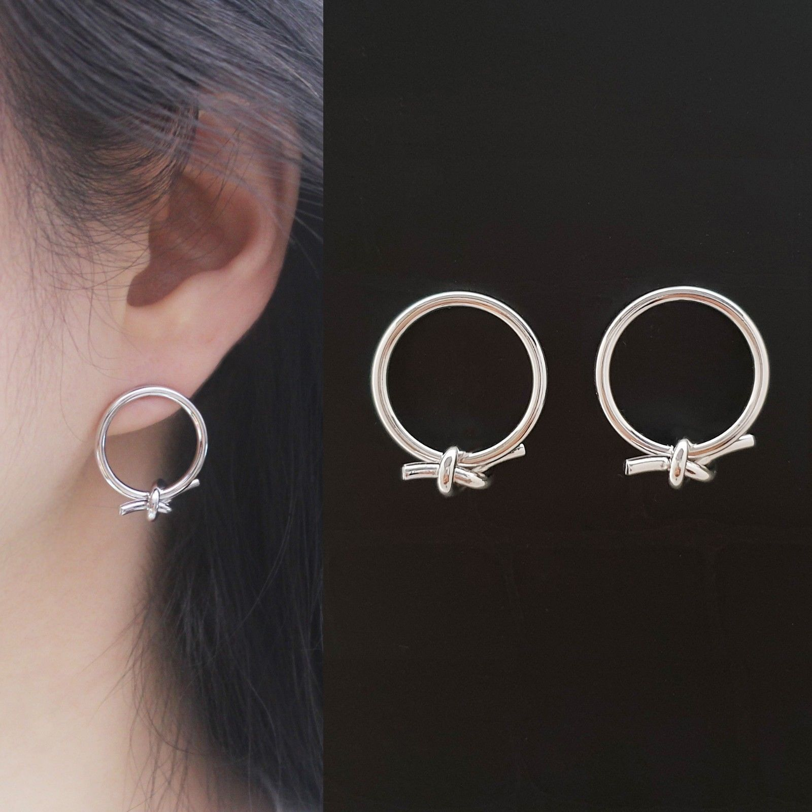 Open Circle Knot Stud Earrings Silver Tone  Brass Titanium Ear Gift For Women