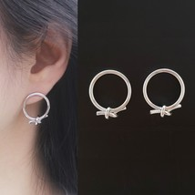 Open Circle Knot Stud Earrings Silver Tone  Brass Titanium Ear Gift For Women image 1