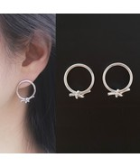 Open Circle Knot Stud Earrings Silver Tone  Brass Titanium Ear Gift For ... - $16.82