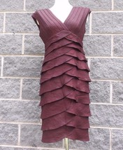 Adrianna Papell Womens 8 Dress Red Brown Ruffle Midi Party Holiday Shimmer - $33.24