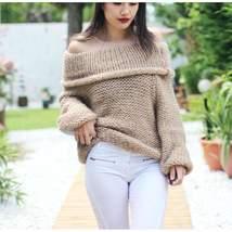 Folded Off Shoulder Oversized Women Knitwear Sweater - $29.80