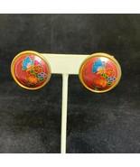 Vintage Gold Tone & Enamel Round Cloisonné Butterfly/Floral Pierced Earr... - $8.00