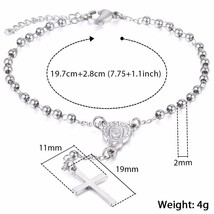 Davieslee Womens Chain Virgin Mary Cross Charm Rosary Bracelet Stainless Steel B - $20.30