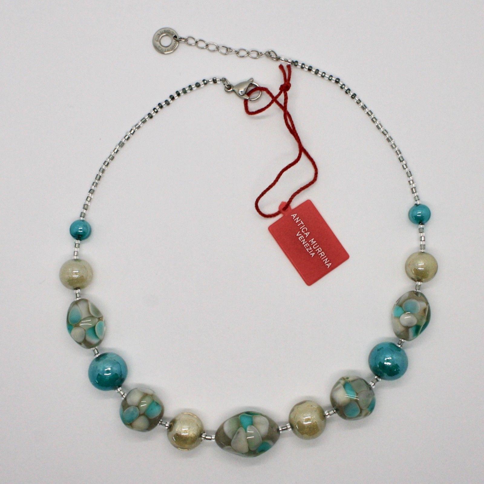 ANTICA MURRINA VENEZIA NECKLACE WITH MURANO GLASS BEIGE GREEN TURQUOISE COA10A59