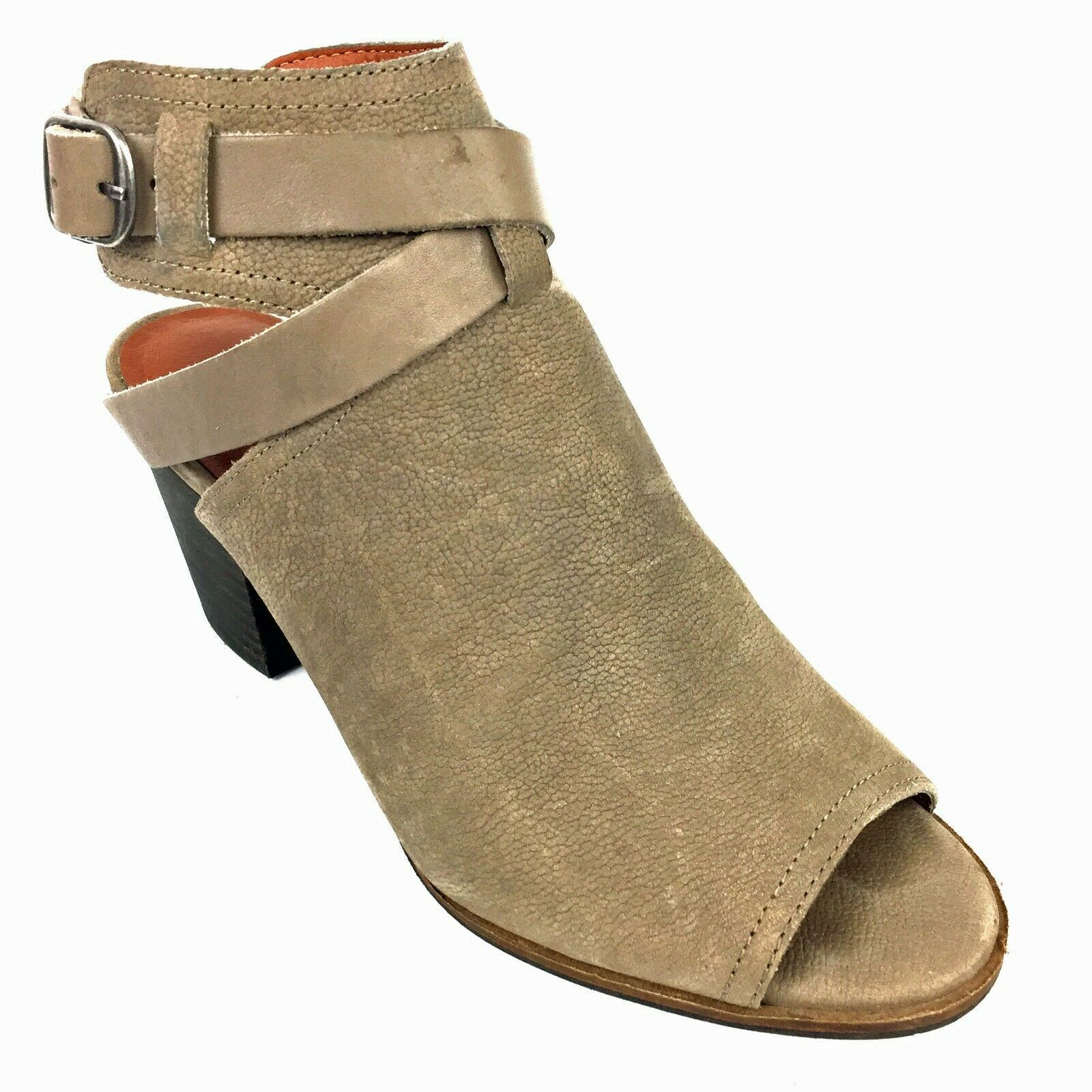 """LUCKY BRAND """"Harum"""" Taupe Bridle LeatherPeep Toe Open Back Booties Size 8 Med image 7"""