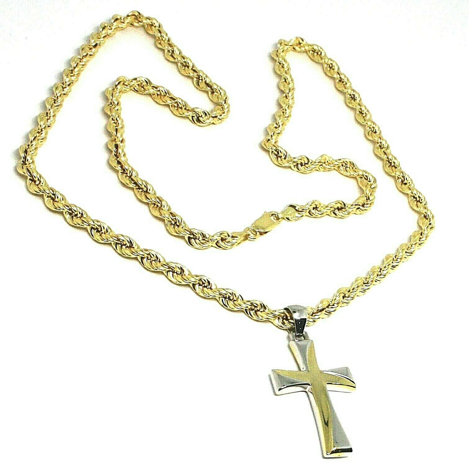 18K YELLOW GOLD BIG 5 MM ROPE CHAIN, 24 INCHES & STYLIZED SQUARE TWO TONE CROSS