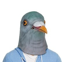 Pigeon Head Halloween Mask Rubber Prank Costume Novelty Adult One Size - $25.94