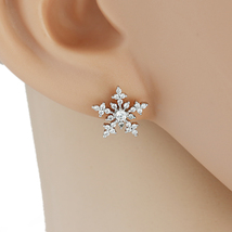 UE- Sparkling Silver Tone Designer Earrings With Swarovski Style Crystals - $15.99