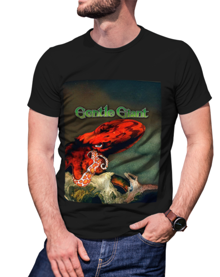 gentle giant OCTOPUS  Black Cotton Tees T-Shirt For Mens