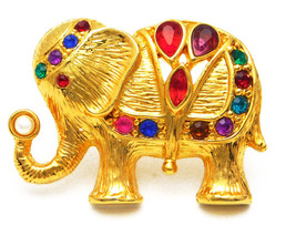Vintage Elephant Brooch Bejeweled on Gold Tone Upturned Trunk With Faux ... - $18.95