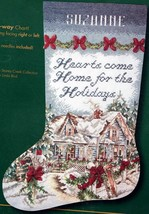 Bucilla Holiday at Home Hearts Christmas Cabin Cross Stitch Stocking Kit 84023 E - $74.95
