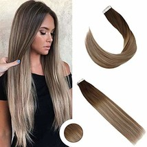 Ugeat Human Hair Extensions Tape in 20 Inch Ombre Balayage Tape in Hair Extensio