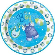 Blue Clothesline Baby Shower Lunch Plates 8 Per Package Birthday Party Supplies - $3.91