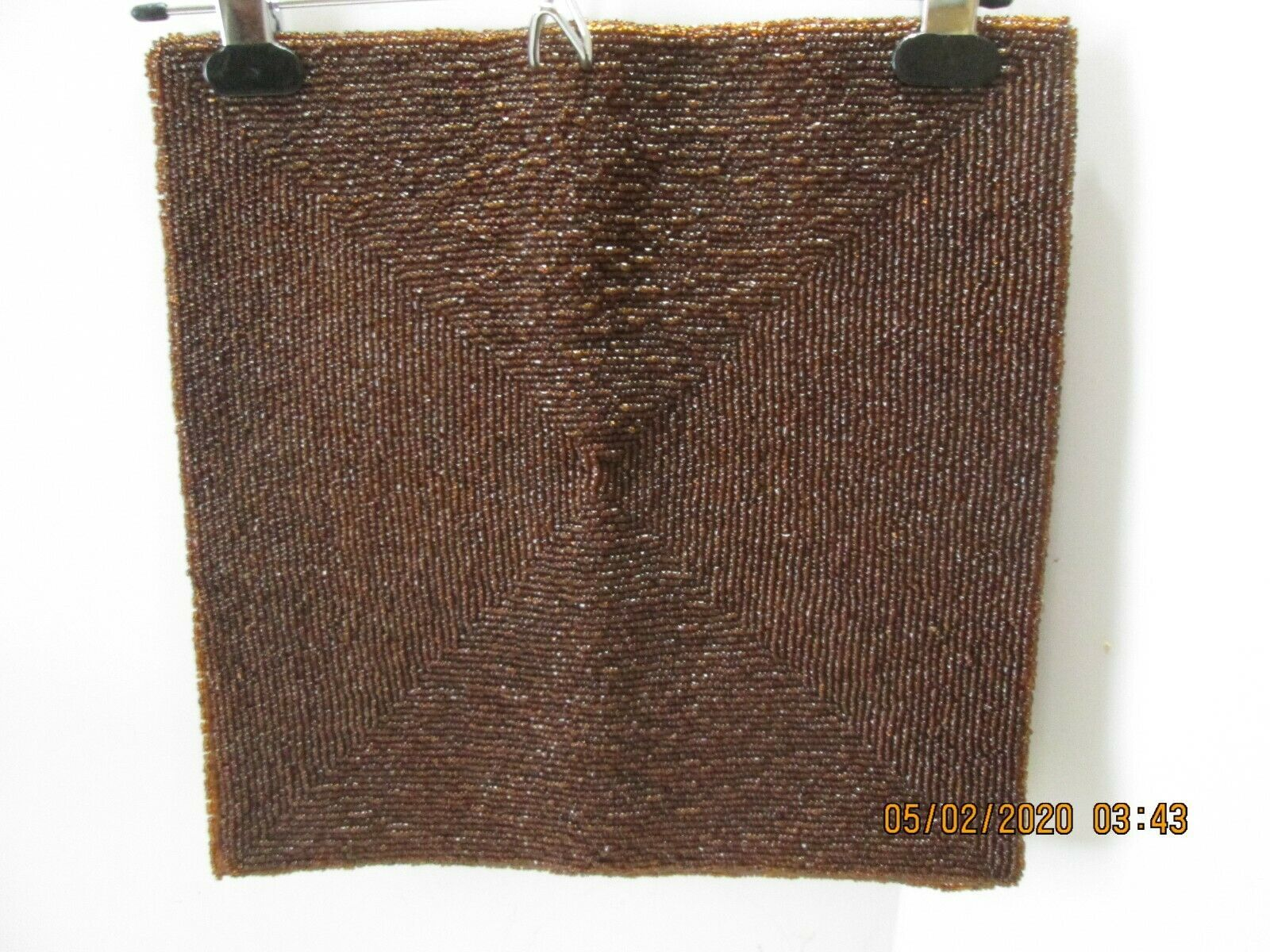 "Primary image for 2 Brown Glass Beaded Mats  13 x 14"" Each Throw Pillow  Table Cover Purse"
