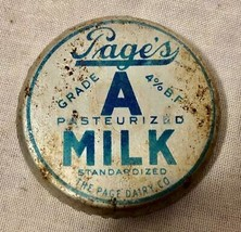 VINTAGE PAGE'S GRADE A PASTEURIZED MILK BOTTLE CAP THE PAGE DAIRY COMPANY - $37.61