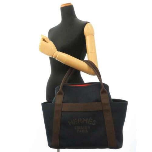 HERMES Sac de Pansage Groom Cotton Canvas Navy Brown Feu Tote Bag #D Authentic image 11