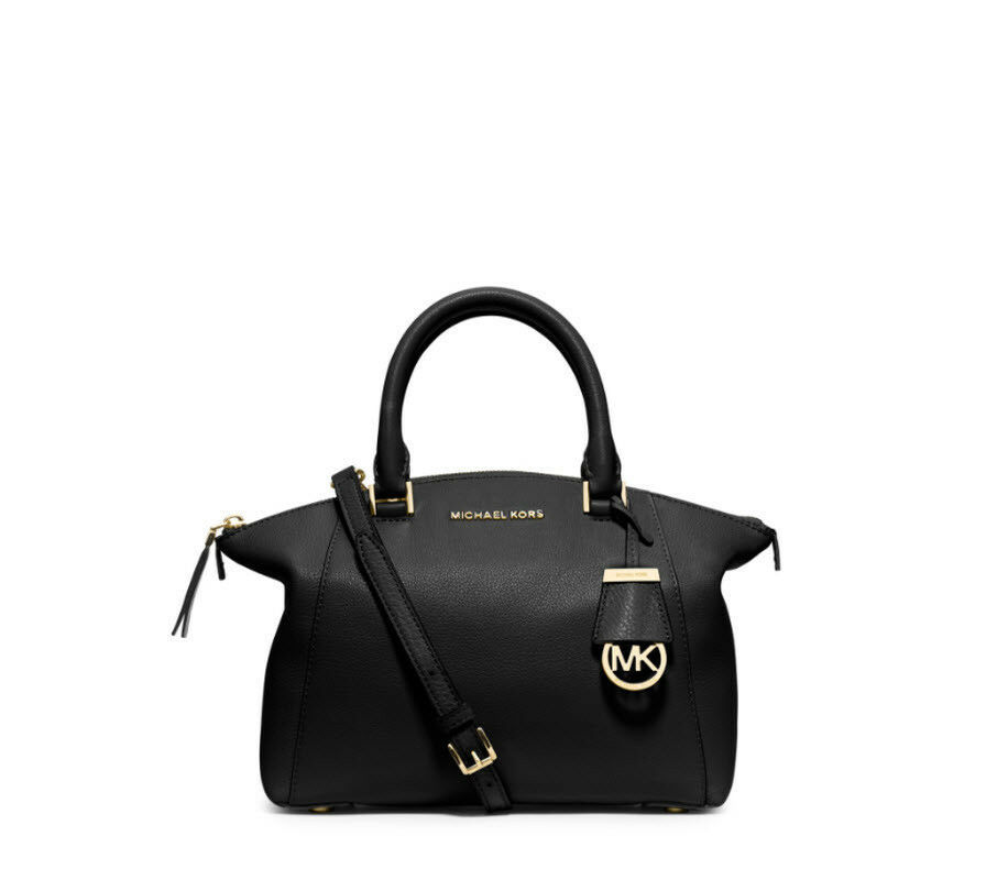 677f0ff5fe3b S l1600. S l1600. Previous. MICHAEL KORS Riley Satchel small Leather  Crossbody Bag Purse Black gold NWT
