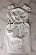 Liz Claiborne Sz 12 Cream Short SlvSheath Dress W/ Belt Peplum Exposed Z... - $25.94