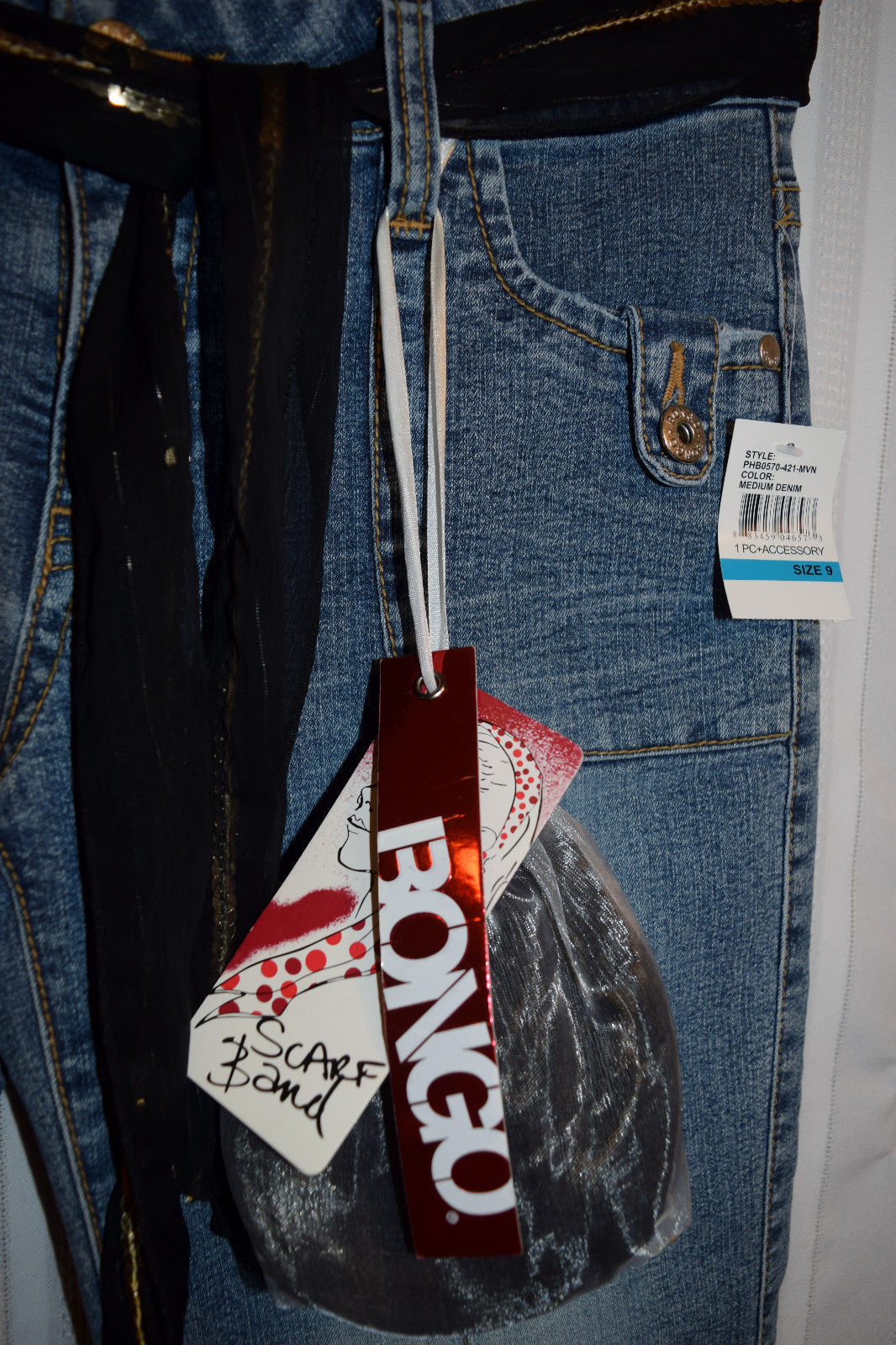 "NWT BONGO Jeans JR Size 9 with 32"" Waist X 32"" Long Scarf belt & match hair Band"