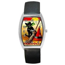 HALLOWEEN BLACK CAT WITH BOW WITCH BROOM & HAT BARREL WATCH - $25.99