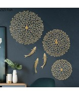 Wall Decor Lucky Coral Carp Lotus Leaf Hang Ornament Copper Pendant Back... - $63.22+