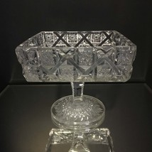 Vintage EAPG Westmorland Old Quilt Clear Footed Candy Dish  - $9.95