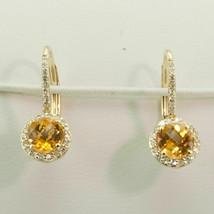 3Ct Round Cut Yellow Citrine Halo Drop/Dangle Earrings 14K Yellow Gold F... - $125.99