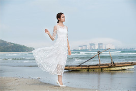 White embroidered Crochet Lace Hollow Temperament Goddess Ball Gown Long Dress - $20.50