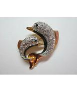 Vintage 2 Dolphins Leaping Jumping Frolicking Rhinestone Goldtone Metal Pin - $9.50