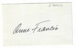 Anne Francis Signed Index Card / Autographed Actress Forbidden Planet - $17.45