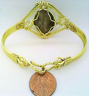 Agate Gold Wire Wrap Bracelet Sz. 6.5