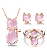 RSS Boutique Nude Pink Cat Jewelry Set Fashion Rose Gold Necklace Ring E... - $25.98