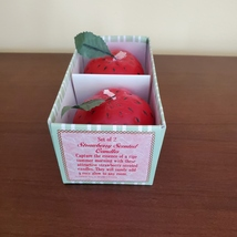 """STRAWBERRY SCENTED CANDLES Set of 2 Red Strawberries Shape Candle 2 1/4"""" H image 3"""
