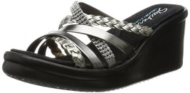 Skechers Cali Women's Rumblers-Wild Child Wedge Sandal, Pewter Rhinestone - $67.50