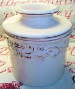 Butter Bell White Linen Antique Collection Butter Crock Pot  L Tremain - $25.99