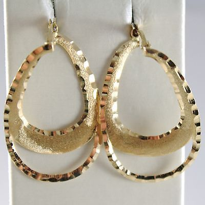 YELLOW GOLD EARRINGS 750 18K HANGING DROP WORKED, SATIN AND HAMMERED