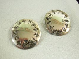 HARVEY BEAR TRACK Oval Embossed Sterling Silver Handmade Clip Earrings V... - $24.74