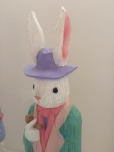 Easter Figurines Mr & Mrs Bunny Tall Skinny Pastel Figurine Decor - $18.95